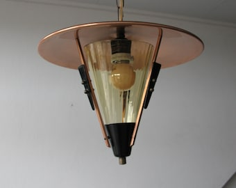 50's Pendant Light Brass Glass