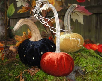 Handmade Black velvet with gold dots, Gold and Burnt Orange pumpkins  with real dried stems.