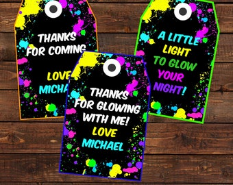 Glow Party Favor Tags - Glow in the dark party thank you tags -  Neon glow birthday decorations -  Neon thank you cards -  #DPI764GLOW