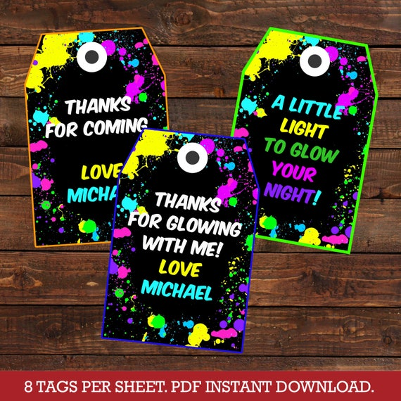 Glow Party Favor Tags Glow in the dark party thank you tags Neon