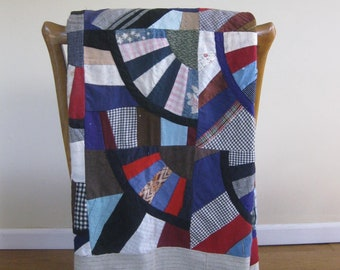 Vintage Crazy Quilt Unfinished, Colorful Cotton Quilt Top, Hand Stitched Fabric Pieces Display Bed Cover 75 x 67
