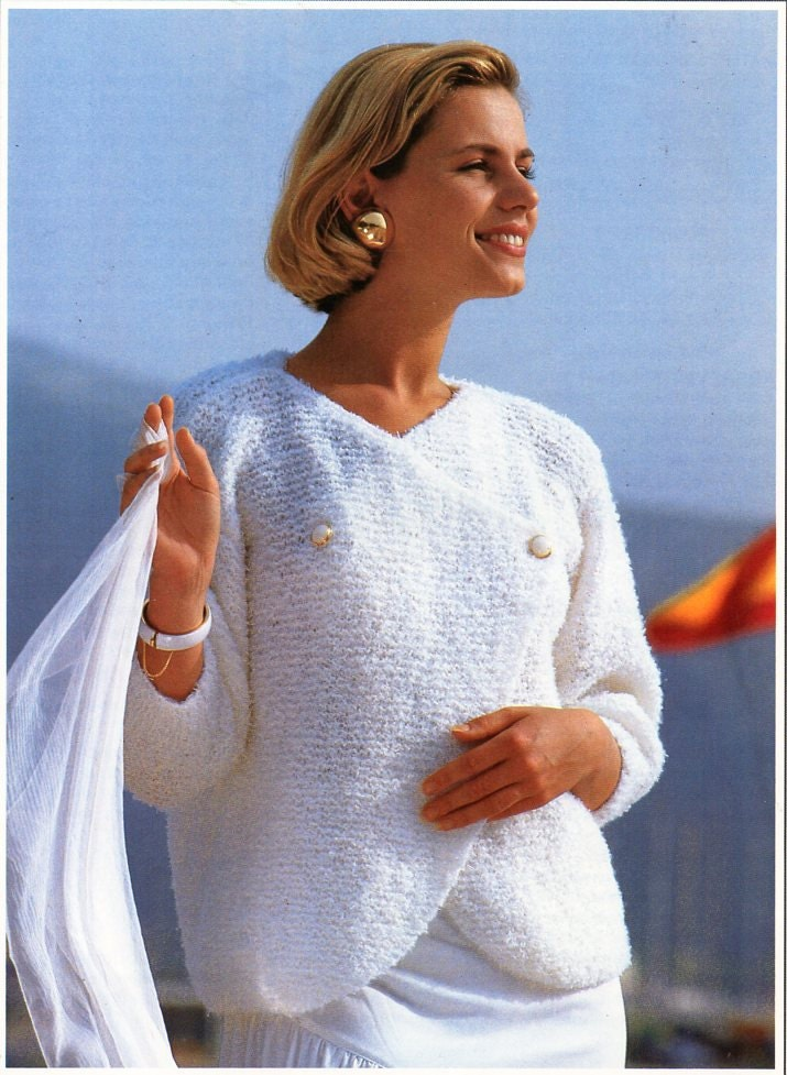 womens crossover sweater knitting pattern PDF 4ply ladies
