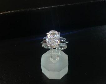 14k.White Gold White Lannyte Lds.Ring