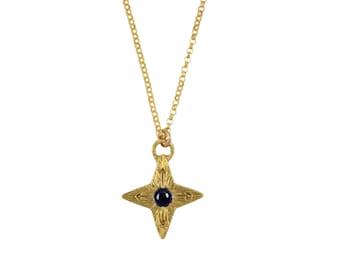Stern-Saphir-Kompass Halskette, Saphir Halskette, Kompass Halskette, Stern, Stern-Anhänger, North Star Halskette, Edelsteinhalskette