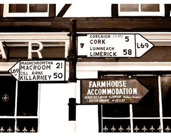 Ireland Signs, Irish Photography, Old Road Signs, Cork, Limerick, Killarney, Sepia Photograph, Brown And Beige, Irish Decor, Wall Decor