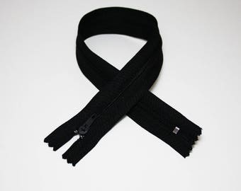 Zip closure, 30 cm, black, not separable