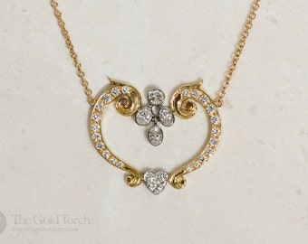 Anniversary Gift, Heart Diamond Necklace, 18k Yellow Gold and Platinum Heart Shaped Diamond Necklace