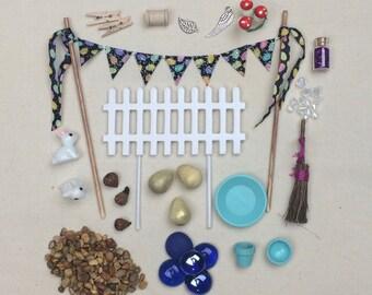 Easter Themed Fairy garden accessories grab bag, bunnies, easter eggs, miniatures, easter basket, terrarium, Build your own fairy garden.