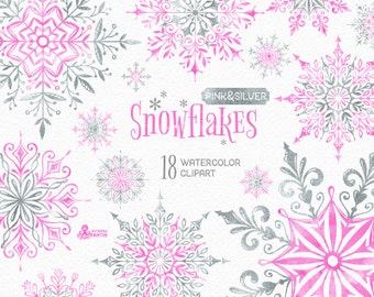 Snowflakes Pink & Silver. 18 Watercolor separate Elements, clipart, christmas, blue, glitter, holiday, card, diy, invitation, snow, winter