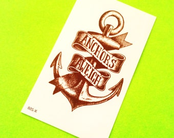 Anchors Aweigh Old School Traditional Black and Grey Nautical Sailor Banner Kitsch Temporary Tattoo