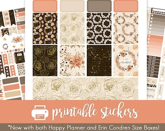 Printable Planner Stickers Rustic Autumn Floral November! w/ Cut Files! Weekly Kit! Erin Condren and Happy Planner!
