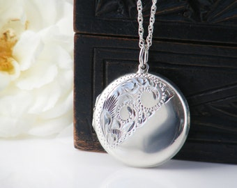 Sterling Silver Vintage Locket | Engraved Locket | 925 Silver Round Photo Locket - 24 Inch Vintage Sterling Silver Chain