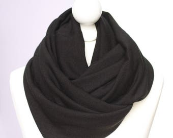 Infinity scarf //  Snood warm and thick black wool