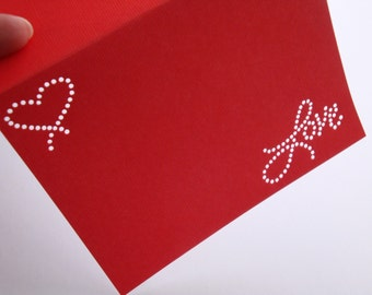 Love's Floating Heart - One Premium Hand-hammered Greeting Art Card - Textured Card Stock DDOTS