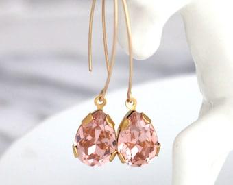 Blush Earrings, Morganite Drop Earrings, Bridal Morganite Earrings, Long Blush Gold Earrings, Sensitive Earrings, Bridesmaids Earrings
