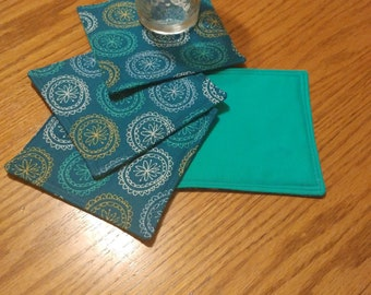 Set of 4 Reversible Coasters Multicolored