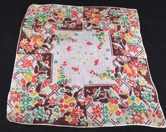 Vintage Ladies Colorful Print Handkerchief