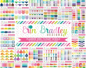 Planner Girl Clipart Bundle Set 3 - 40 Sets Personal & Commercial Use Clip Art Graphics