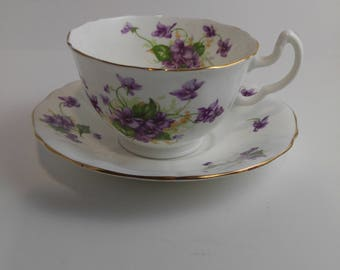 Adderley Cup and Saucer Violets Made in England  Vintage   #344