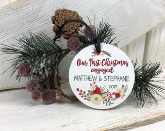 Our First Christmas ENGAGED xmas ornament / to be married / holiday ornaments / stocking stuffer / holiday decor / Christmas decor