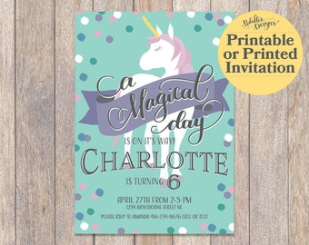 Unicorn Birthday Invitation, Printable Unicorn Birthday, Printable Unicorn Invitations, Unicorn Birthday Invites, Magical Unicorn Party