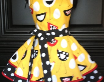 Chics with a NEW Attitude Two Tiered Whimsical Apron with Polka Dots