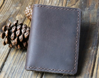 ready to ship.black leather wallet .small wallet .short wallet.handstitched