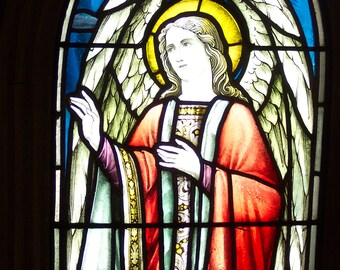 Antique Angel Church Stained Glass Window by Robert McCausland Ltd. 1903 - 1910