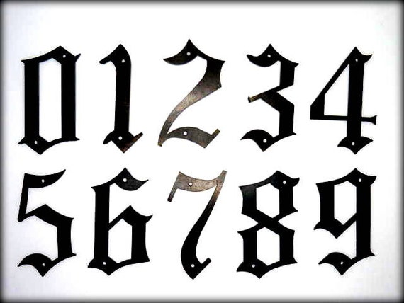 """METAL HOUSE NUMBERS - 5"""" Old English Style Numbers - Street Numbers - Outside Home Decor - Old English Font Adress Numbers"""