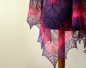 Hand Knit lace shawl in pink purple colors