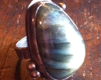 Labradorite Cabochon Ring with Sterling Silver and Recycled 14K Gold