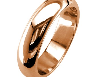 Mens Classic Plain Domed Wedding Band, 5mm Wide in 14K Pink, Rose Gold