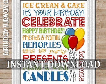 HAPPY BIRTHDAY Subway Art, Sign, Poster - Printable Instant Download