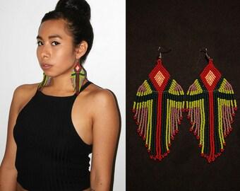 Large Dangling Earrings, Boho Tribal Chandelier Earrings, Native American Beaded Earrings, Geometric Aztec Earrings, Statement Earrings