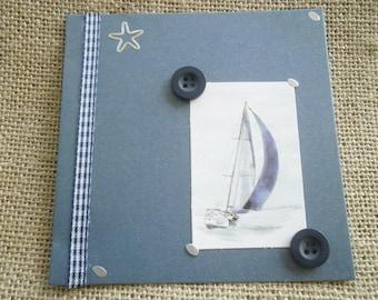 Square card double dark blue color, sailboat + envelope sets matching