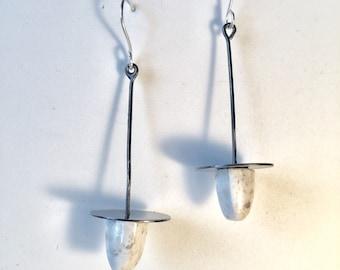 Common Opal blackened silver earrings
