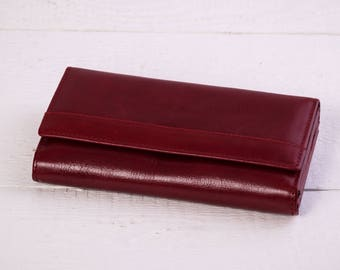 Women's Leather Wallet.Leather Wallet.Handmade Leather Wallet.Wine Leather Wallet.leather wallet woman.handmade leather clutch.(161)
