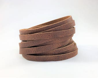 Brown double wrap leather cuff