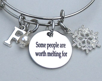 """Olaf Quote - """" Some People Are Worth Melting For """",  Snowflake Charm, Whimsical Bangle - Frozen Inspired, Under 20, Gift For Her,"""