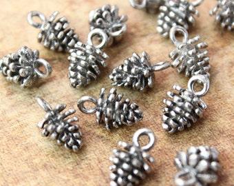 10 Pinecone Charms Pine Cone Pendants Antiqued Tibetan Silver Tone 3D 8 x 8 mm
