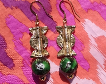 Gold Weight and Green Glass Earrings