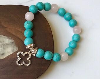 Turquoise and Quartz Bracelet // Charm Bracelet // Jeweled Clover// Healing Stones