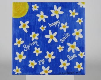 Hand painted Ceramic Tile with Daisies