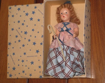 """1940s HOLLYWOOD DOLL Toyland Series """"Little Shpeherdess"""" with Original Box (8-inch Bisque Doll)"""