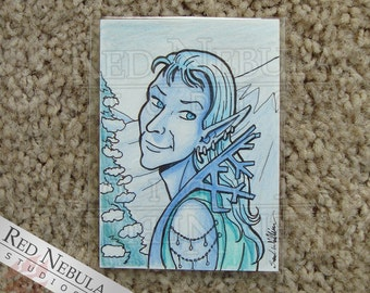 "Ice Fairy ACEO 2.5"" x 3.5"" Sketch, Original Art, Colored Pencil, Winter Fae Artwork, Ice Faerie Drawing, OOAK Fantasy Drawing, One of a Kind"