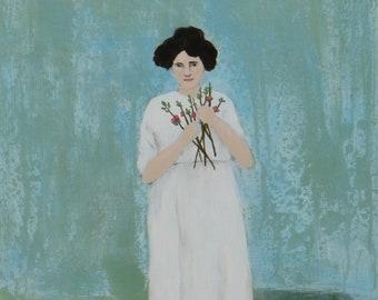 Gathering Quince - Original Painting by Elizabeth Bauman