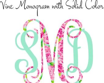 Car Monogram, Vine Monogram Decal with Solid Color
