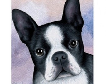 Fridge Magnet Print ACEO from my original painting Dog 128 Boston Terrier by Lucie Dumas