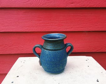Blue Vase with Handles & Tree Stamp