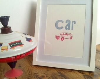 Car letterpress print